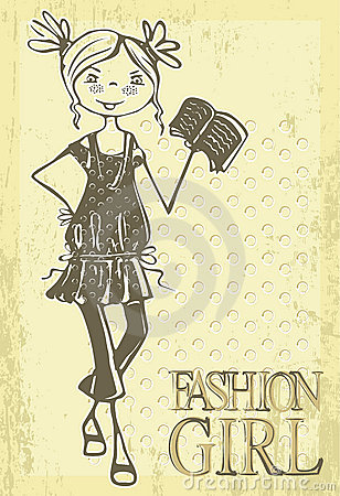 Retro vector fashion girl Vector Illustration