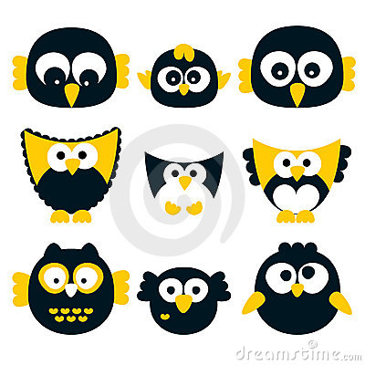 Retro vector owls