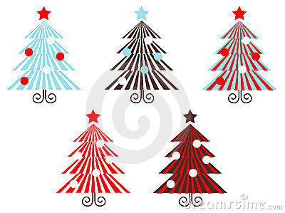 Retro vector Trees collection ( red striped )