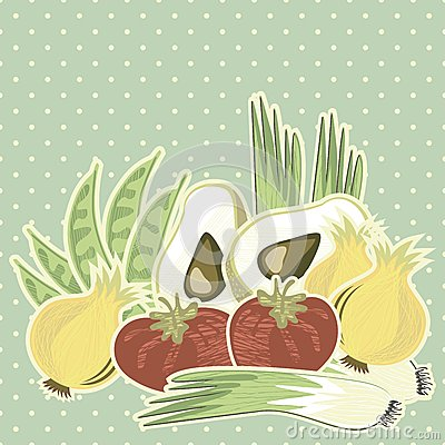 Retro vegetable illustration on polka dots on blue