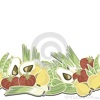 Retro vegetables seamless horizontal border