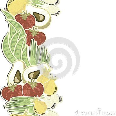 Retro vegetables seamless vertical border