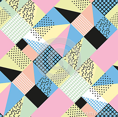 Free Retro Vintage 80s Or 90s Fashion Style. Memphis Seamless Pattern. Trendy Geometric Elements. Modern Abstract Design Stock Images - 77127284