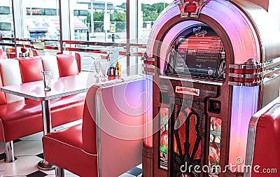 Retro Vintage American Diner And Jukebox Editorial Photo - Image ...