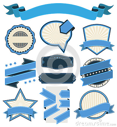 Free Retro Vintage Badge, Label And Banner Set Royalty Free Stock Images - 38914349