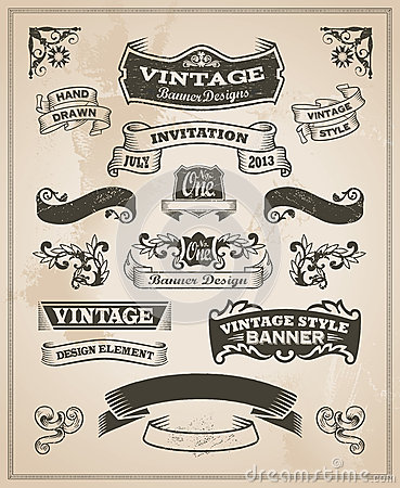 Free Retro Vintage Banner And Ribbon Set Stock Images - 40461264