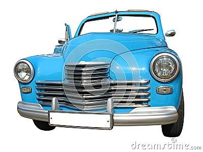 Retro vintage blue dream luxury car isolated