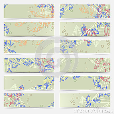 Free Retro Vintage Floral Pattern Card Header Set Royalty Free Stock Photography - 46093317