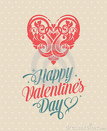 Free Retro Vintage Happy Valentines Day Greeting Card Royalty Free Stock Image - 34978496