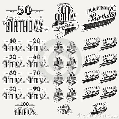 Retro Vintage style Birthday greeting card collection in calligraphic design.