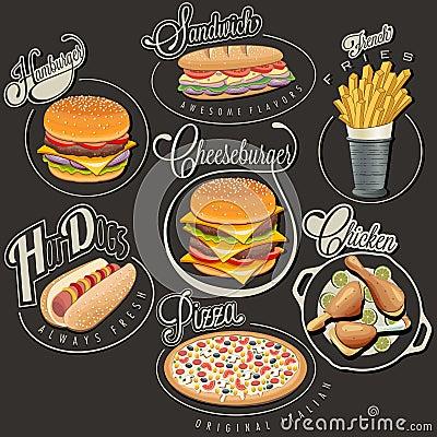 Free Retro Vintage Style Fast Food Designs. Royalty Free Stock Photos - 41532658