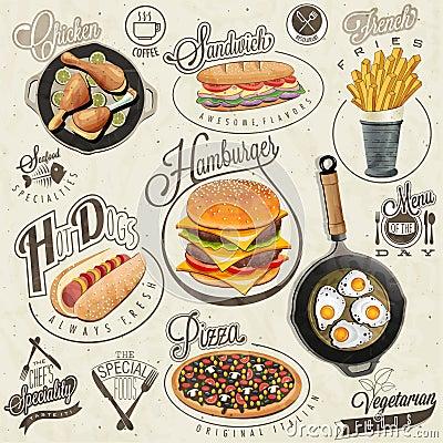 Free Retro Vintage Style Fast Food Designs. Royalty Free Stock Photo - 47595365