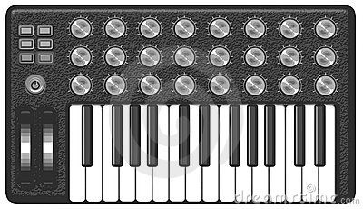 Retro vintage Synthesizer grayscale vector