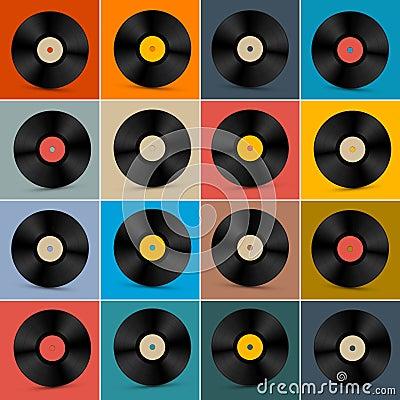 Free Retro, Vintage Vector Vinyl Record Disc Set Royalty Free Stock Image - 38410116