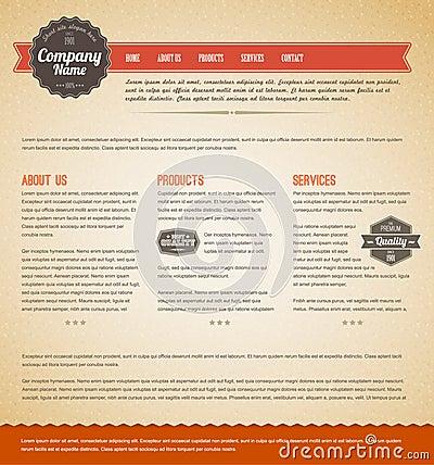 Retro vintage web page template