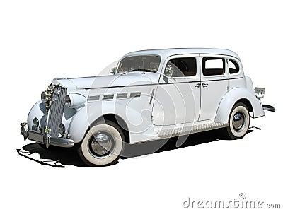 Retro vintage white dream wedding car isolated