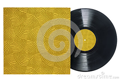 Retro Vinyl Record With Groove Textured Sleeve Stock