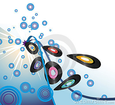 Retro vinyl records burst