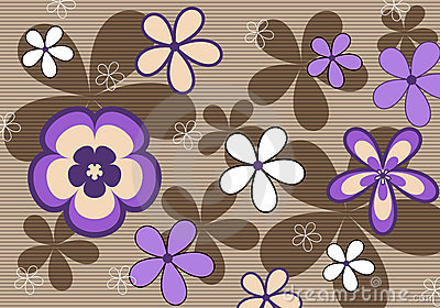 Retro violet floral background