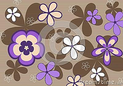 Retro violet floral background