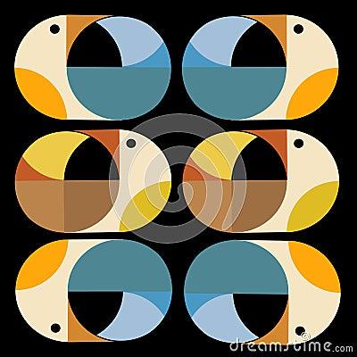 Retro wallpaper with birds