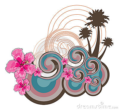 Retro waves and pink hibiscus
