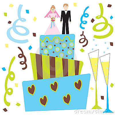 Retro Wedding cake and champagne