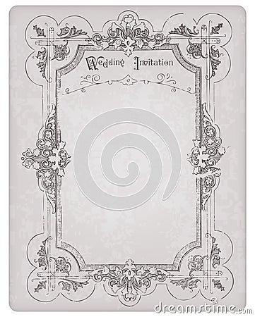Retro Wedding Invitation postcard with frame