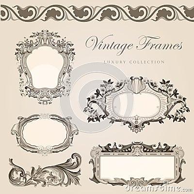 Retro wedding invitation template. Vintage  frames
