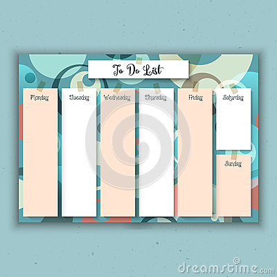 Retro weekly planner Vector Illustration