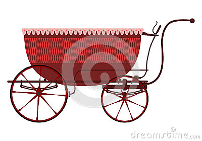 Retro wicker baby carriage.