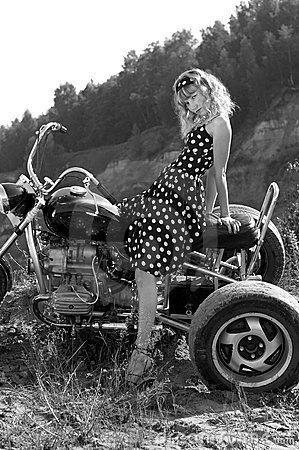 Retro woman on a bike