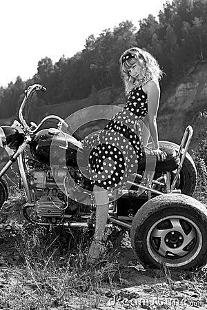 Retro woman on a bike