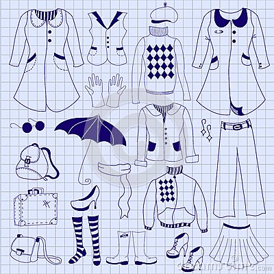 Retro woman clothes, drawing pen on notebook sheet
