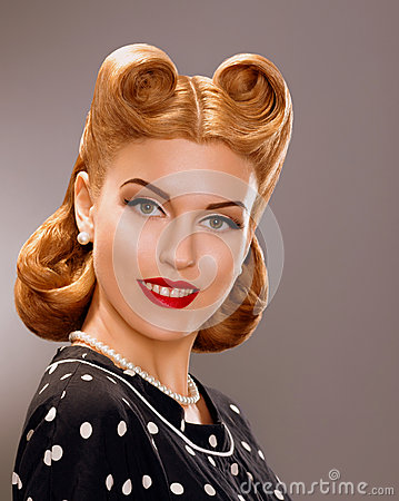 Nostalgia. Styled Smiling Woman with Retro Golden Hair Style. Nobility