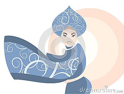 Retro. Woman in national russia costume, kokoshnik