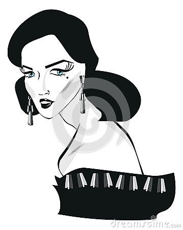retro woman pop art face portrait stock illustration