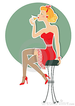 Retro woman is sitting and drinking