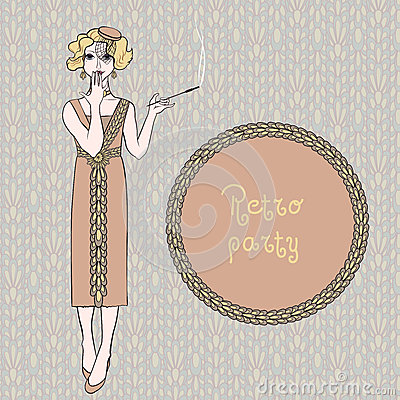 Retro woman smoking cigarette, vector illustration