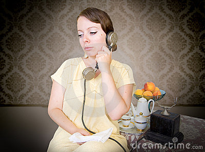 Retro woman talking on the phone