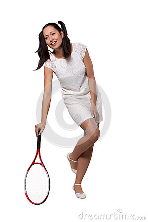Retro Woman with a tennis racket