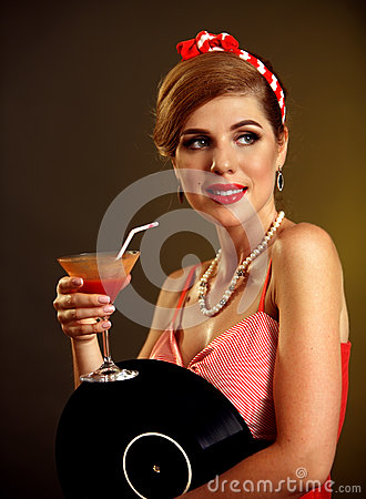 Free Retro Woman With Music Vinyl Record. Pin Up Girl Drink Martini Cocktail Royalty Free Stock Photo - 85993575