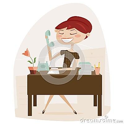 Retro woman working