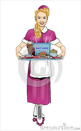 Free Retro Women Waitress Vector Stock Photography - 72776432