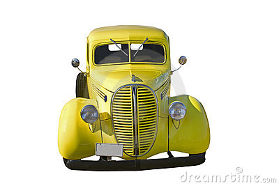 Retro yellow pickup front