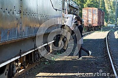 Retro young love couple vintage train setting