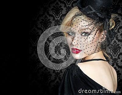 Retro young woman portrait