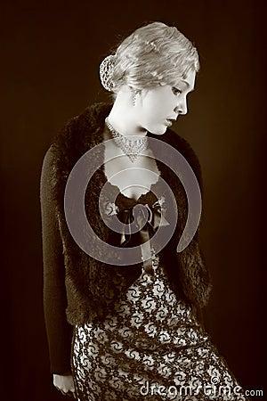 Free Retrogirl. Sepia. Stock Image - 1799881