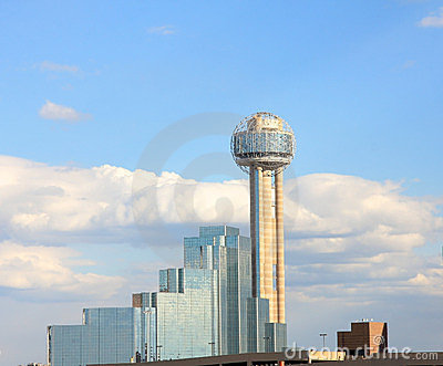 Reunion Tower in downtown of Dallas