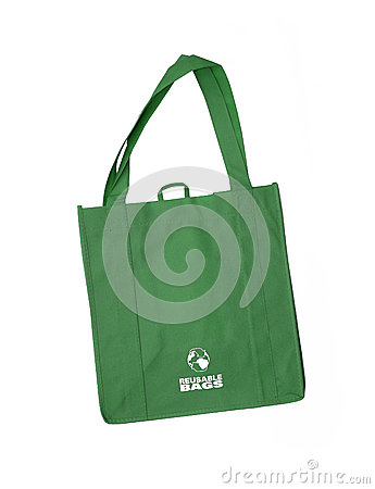 Reusable green shopping bag with recycle symbol